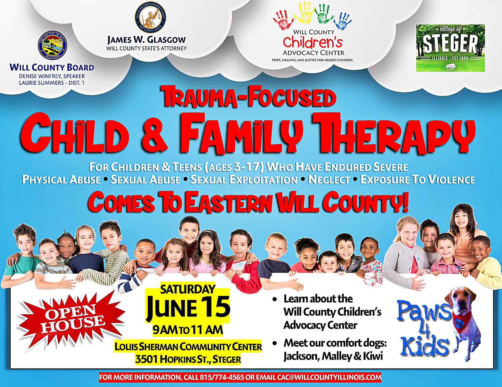Will County Children's Advocacy Center to Offer Counseling in Eastern Will: Community Invited to June 15 Open House in Steger