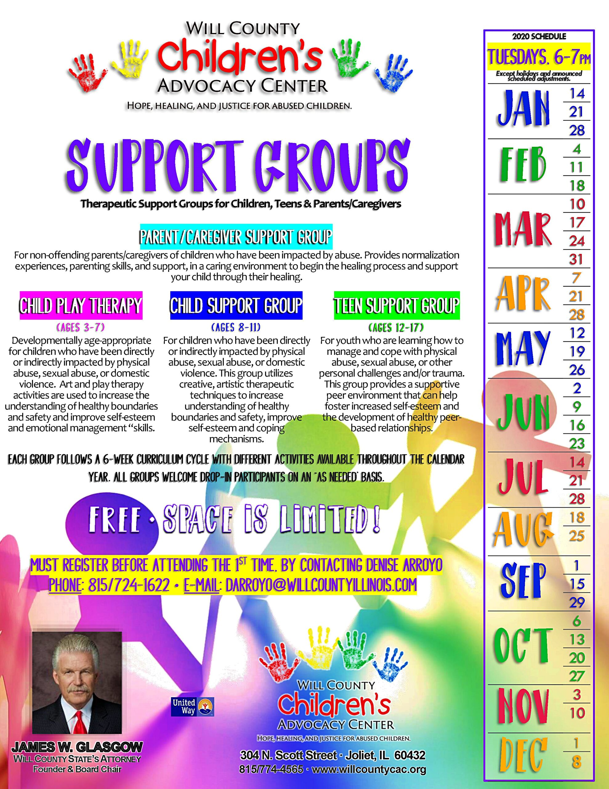 Will County Children's Advocacy Center - Therapeutic Support Groups - 2020 Schedule