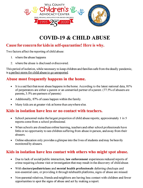 This period of isolation, while necessary to keep children and families safe from the deadly pandemic, is a perfect storm for child abuse to go unreported. <strong>Click above to download a .pdf version.</strong>